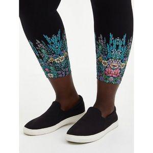 🆕 Black Floral Crop Premium Leggings 1X 14 16 NWT